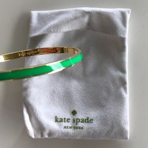 "Gold and Green Kate Spade ""Stroke of Luck"" Bangle"